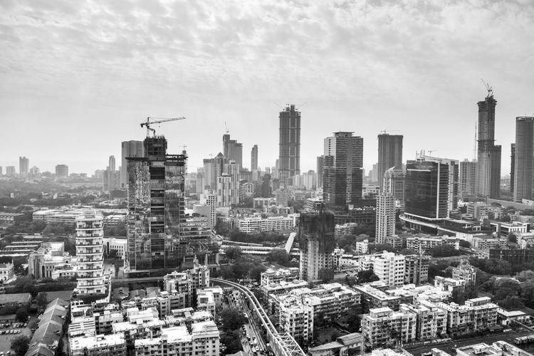 Aerial view of buildings in mumbai city