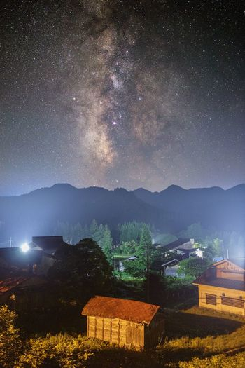 Milky Way Night Architecture Star - Space Built Structure Building Exterior Building Astronomy Galaxy House Space Sky Star Mountain