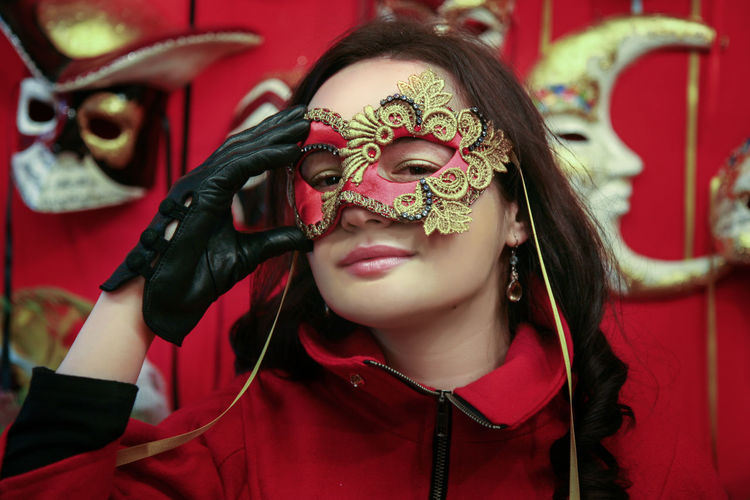 Close-up of woman wearing mask