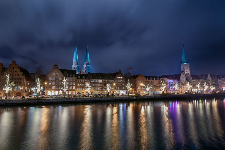 Architecture_collection Blue Hour Wide Angle Christmas Lights Christmas Decoration Lübeck Germany Europe Cityscape City Illuminated Long Exposure Night Lights Night Photography Architecture City Cityscape Urban Skyline Illuminated Water Winter Lightning Long Exposure