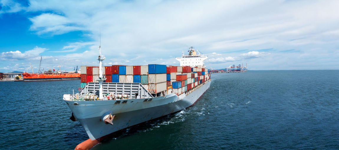Cargo ship , large containr ship export goods to customer