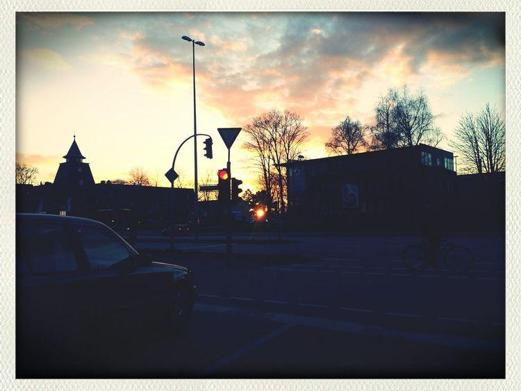 Hamburg Sun Set Clouds Alsterdorf