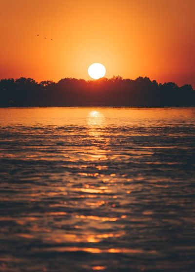 Sunrise vibes Water Sunset Sunrise Sunset Sky Water Orange Color Beauty In Nature Scenics - Nature Sun Tranquility Reflection Idyllic Silhouette Sunlight Nature Outdoors