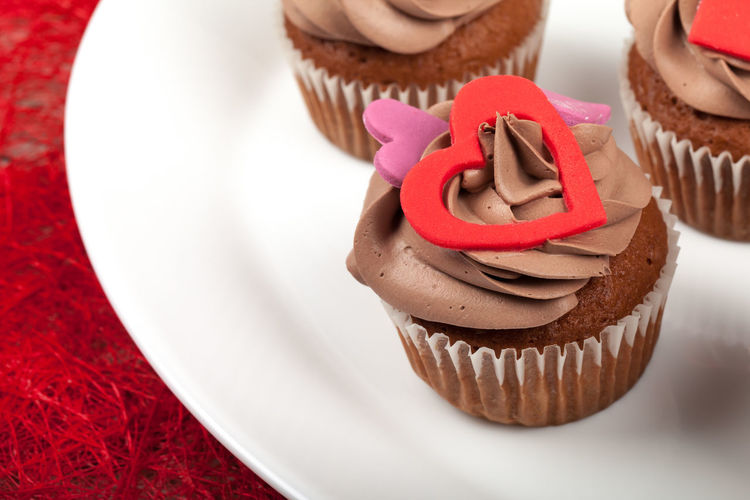 Close-up of cupcakes on plate