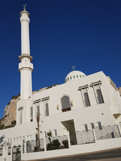 Gibraltar Gibraltar Landscape Soft Mosque Mosque Architecture Man Made Object Structure Sky Blue Impressive House Of Worship Europe History Travel Destinations Architecture Symbol Religion Blue Sky