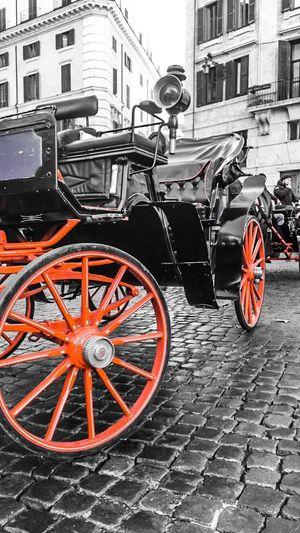 Rome Italy Charette Mode Of Transport Stationary Land Vehicle Rouge Et Noir Tourism Transportation