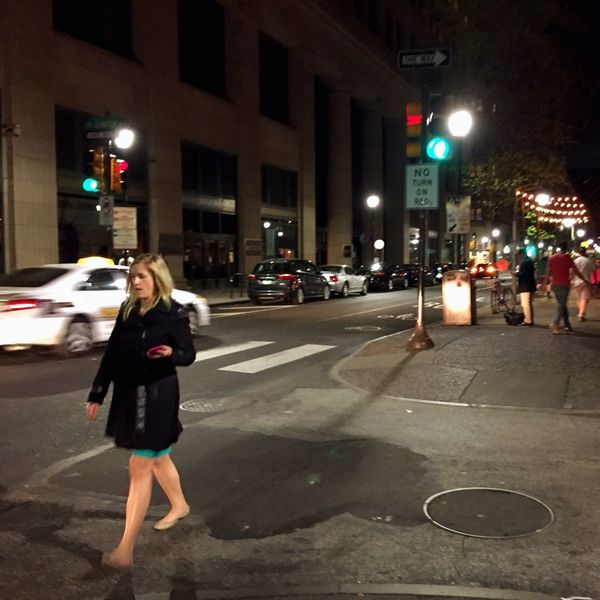 Night View Cities At Night Walking Across The Street Street Lights Shadow Up Close Street Photography Red Light Manhole  Crosswalk Taxicab Showing Imperfection Showcase April Telling Stories Differently Trafficlight The OO Mission