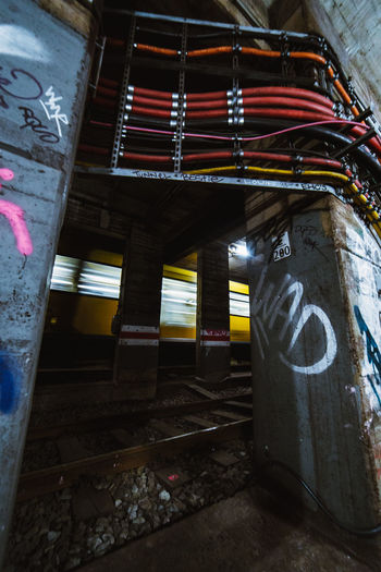 Sub Excursions Train Berlin Urban Exploration Exploring EyeEm Best Shots Check This Out EyeEm Architecture Motion Speed Mode Of Transport Run-down Abandoned Built Structure No People Architectural Column Low Angle View Graffiti Wall Weathered Metal Building Obsolete Travel Adventure