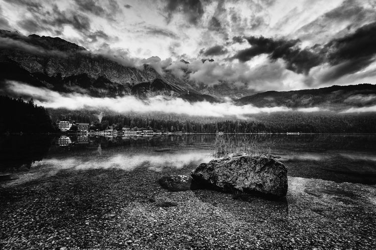 Cloud - Sky Water Sky Tranquil Scene Tranquility Beauty In Nature Scenics - Nature Nature No People Lake Rock Non-urban Scene Reflection Solid Day Rock - Object Idyllic Outdoors Eibsee Bavaria Blackandwhite Black And White