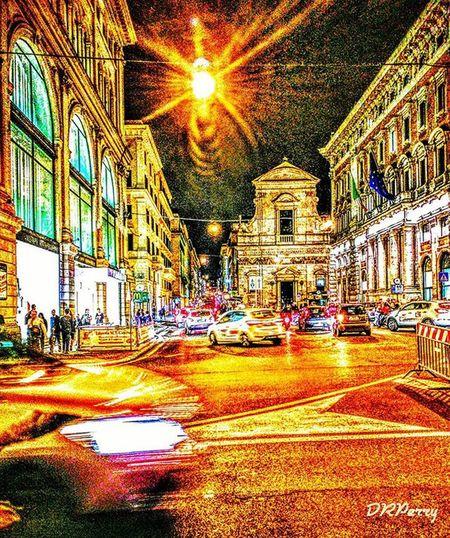 """""""Busy Night"""" Rome Roma Romagna Noidiroma Repostromanticitaly Fb WP Italy Italia Architecture Italianarchitecture Street Streets Lazio Speed Busy Night Photobydperry"""