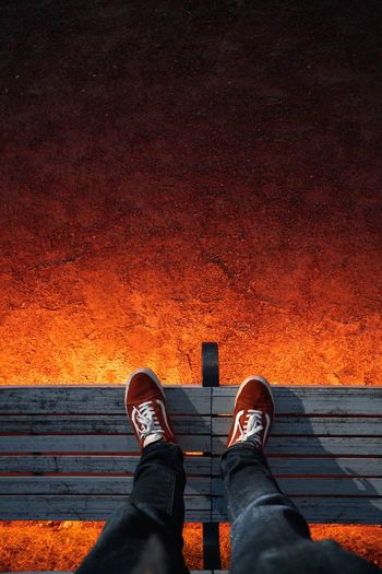 The floor is lava. Light Effect Light Shoes Vans Low Section Shoe Human Body Part Body Part Personal Perspective Human Leg Real People Standing Outdoors Human Foot Orange Color Lifestyles My Best Photo 17.62°
