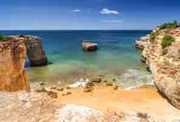 Algarve Portugal Atlantic Ocean Beauty In Nature City Cityscape Day Digital Composite Erosioncontrol European  Holiday Nature No People Ocean Outdoors Portugal Relaxing Rock Formation At End Of Bridge Sky Water