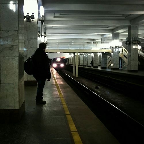 Mobilephotography Silhouette Underground Metro Train Light And Shadow