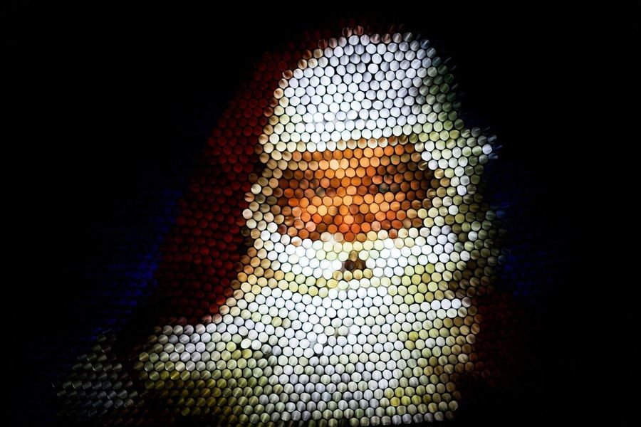 Ho, Ho, Ho Portraits Straw Photography Color Abstract Abstraction Abstractart Abstractportrait Art Strawphotography Strawcamera Christmas Santaclaus Happyholidays Saintnick Illuminated Textured  Close-up Technology Human Body Part Day