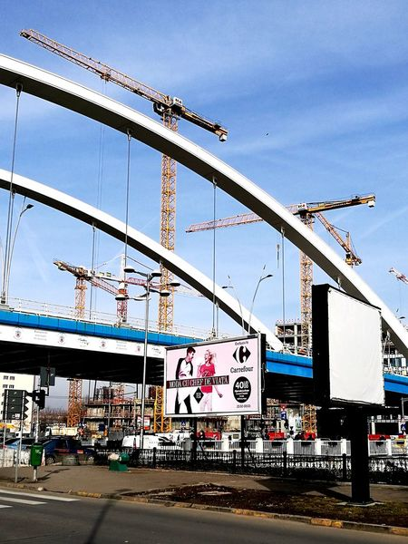 Bridge - Man Made Structure Sky Day Transportation Building And Sky Bridge Crane City Outdoors Huawei P9 Leica Huaweiphotography Street Advertising