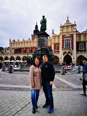 Cracow Travel Destinations Cloud - Sky Front View Two People Statue Mickiewicz Monument Old Town Old Buildings People Travel History Sky Day Outdoors