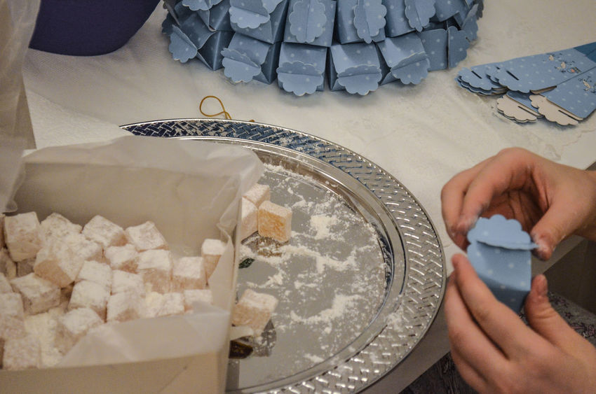 Close-up Cropped Elevated View Gift Gifts Holding Homemade Human Finger Indulgence Interior Large Group Of Objects Leisure Activity Lifestyles Lokum Onthetable Part Of Person Personal Perspective Preparation  Preparing Food Ready-to-eat Temptation Turkish Delight Turkishdelight Unrecognizable Person