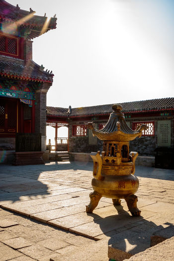 Ancient Architecture Castle Great Wall Hebei Sunlight Tourist Travel Archaeological Attraction Building China Chinese Fortification Historic History Landmark Military Qinhuangdao Sculpture Shanhaiguan Site Sky Structure Temple