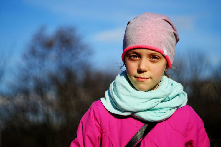 Portrait of girl during winter