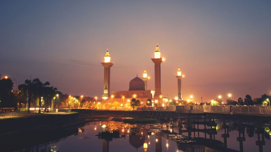 beautiful mosque during dawn Architecture Ramadhan Islamic Night Reflection Illuminated Water Sky Outdoors Travel Destinations