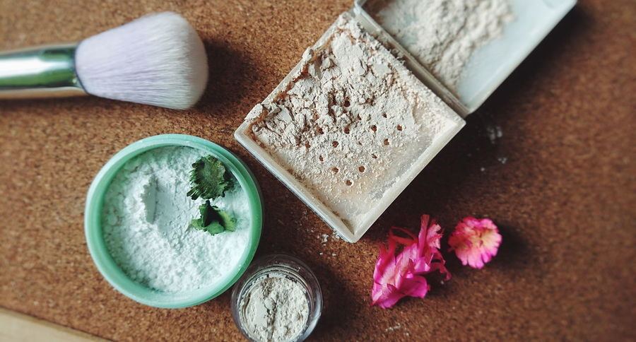 white clay. Clay Loose Powder Soft Clay Brush Powder Cosmetics Makeup Beauty Product High Angle View Indoors  No People Close-up Day Salt - Mineral Freshness