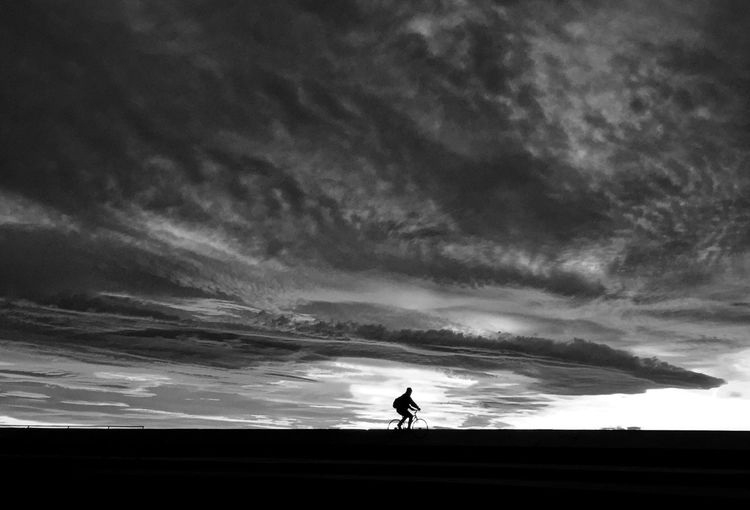 Silhouette Cloud - Sky Sky One Person Sunset One Man Only Bike Biking