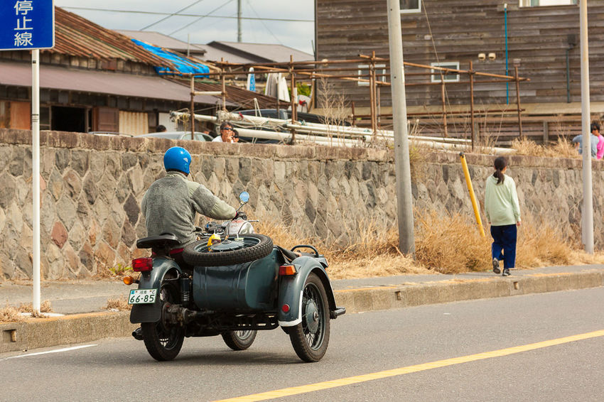 Blue Helmet Built Structure Japan Land Vehicle Mode Of Transport On The Move Riding Riding Roller Coasters Street Transportation Vintage Side-car Walking Around Side-car On The Way