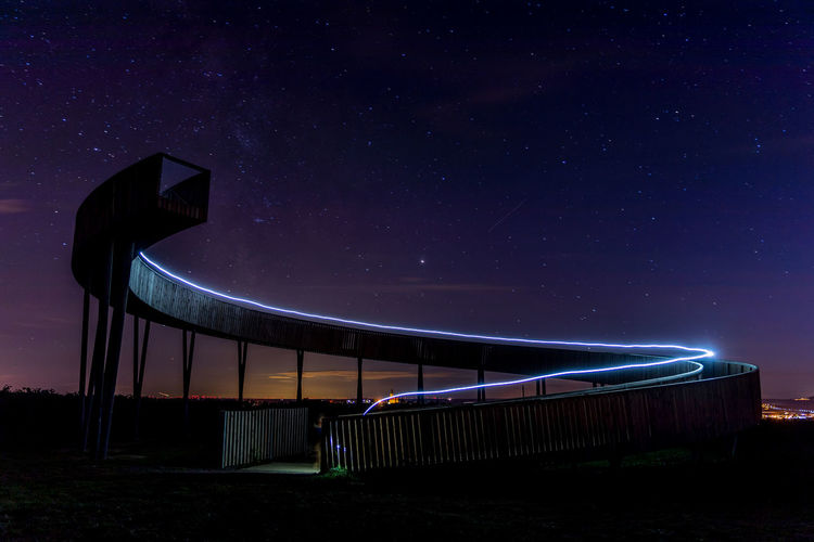 Illuminated built structure on field against sky at night