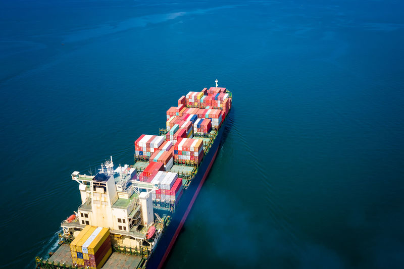 Water Nautical Vessel Transportation Sea High Angle View Nature Mode Of Transportation Day Ship No People Freight Transportation Outdoors Blue Shipping  Aerial View Beauty In Nature Travel Industry Cargo Container Import Export International