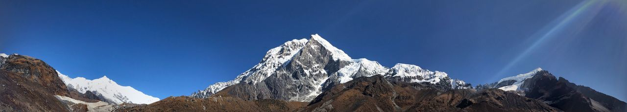 The Kanchenjunga Mountain Snow Nature Mountain Range Blue Landscape Peak Steep Snowcapped Mountain Scenics Cold Temperature No People Height Beauty In Nature Day Outdoors Wilderness Area Sky Range Glacial