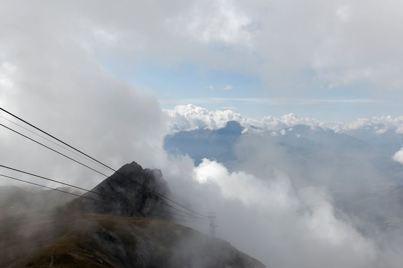 Cables With Mountain In Background