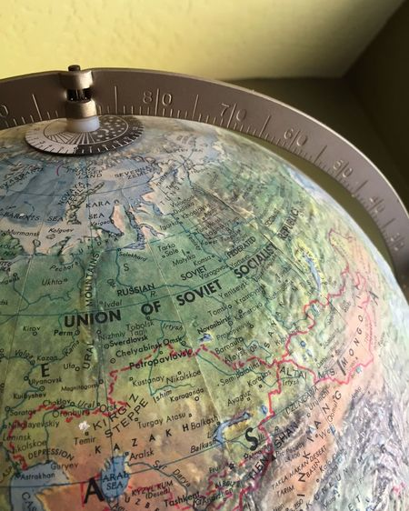 Vintage globe Retro Globe Northern Hemisphere Vintage Vintage Globe Map Former Soviet Union Wabi-sabi Entropy Time Worn Retro Styled Retro Style
