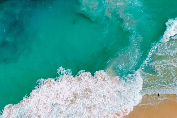 High angle view of wave in sea