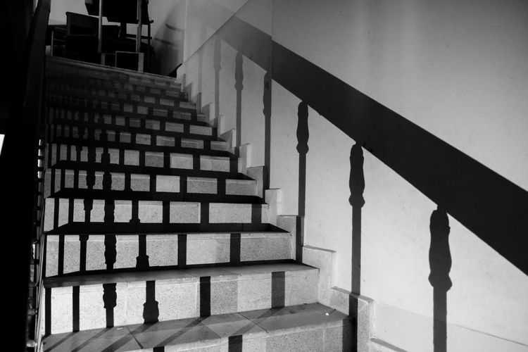 Abandoned Architecture Blackandwhite Built Structure Dark Day Grunge Hand Rail In A Row Indoors  No People Railing School Shadows Staircase Steps Steps And Staircases