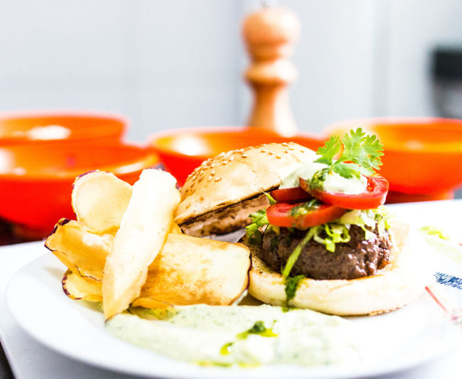 Eat well Fast Food Bread Burger Close-up Fast Food Food Food And Drink French Fries Freshness Hamburger Indoors  Meal Meat No People Plate Potato Prepared Potato Ready-to-eat Sandwich Serving Size Snack Still Life Table Temptation Unhealthy Eating Vegetable