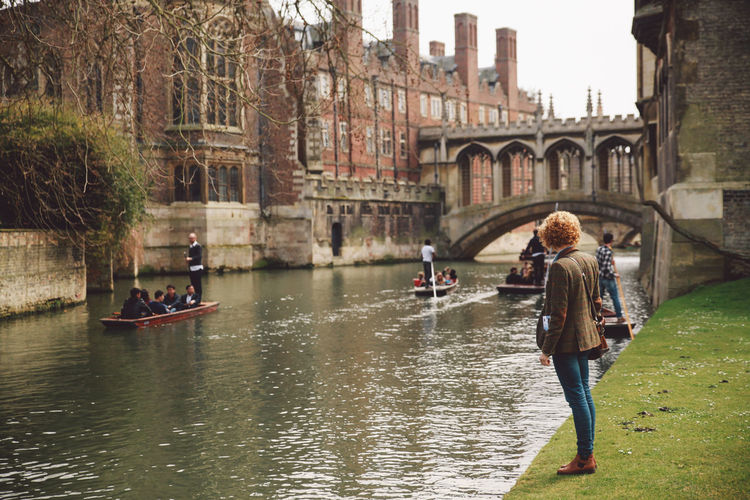 Woman Standing By River At Cambridge University
