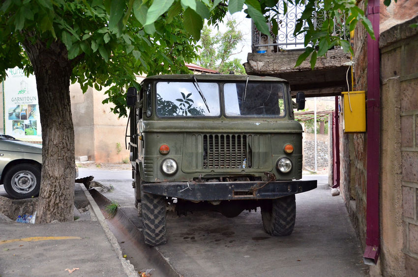Armenia Cars GAZ 66 Architecture Built Structure Car Day Land Vehicle Military Car Military Truck Military Vehicles Mode Of Transport No People Outdoors Stationary Street Transportation Tree W-armenien