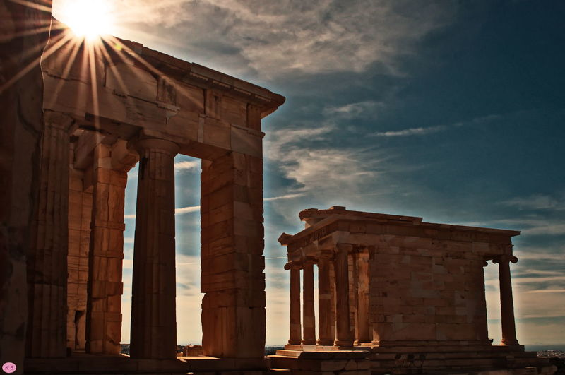 Ancient Civilization Architectural Column Athen,Gree City Day History No People The City Light Tourism