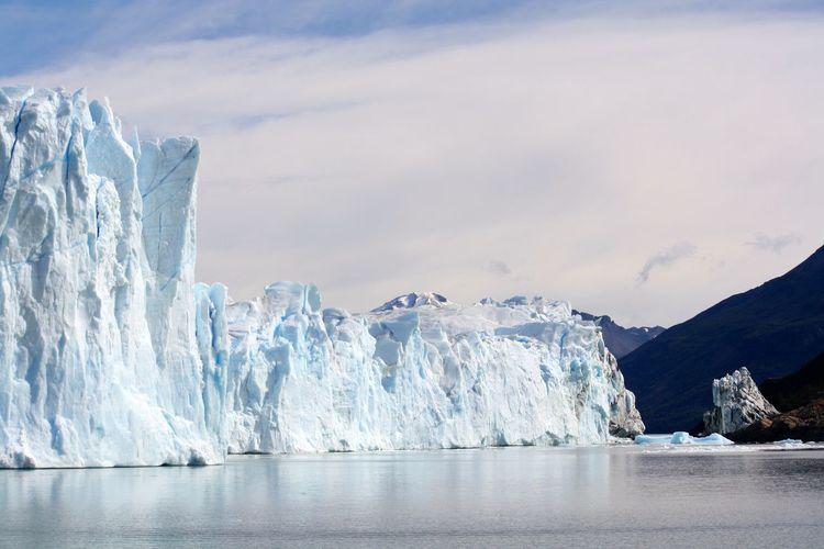 Serene seascape with steep glaciers