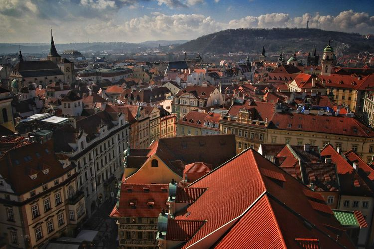 High angle view of townscape against sky in prague, czech republic.
