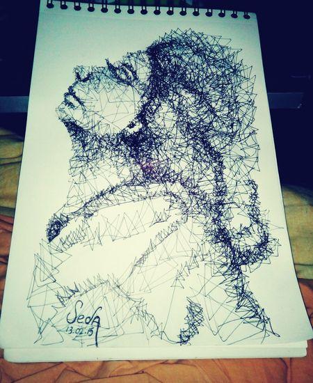 Drawing çizim Cizgiler Yeni çizim Tekniğim Tükenmez Kalem. Portrait Portre Pencil Art MyDrawing