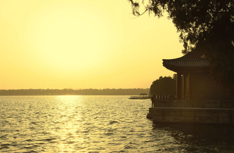 China Beijing Summer Palace Bejing Summer Palace Old A Summer Retreat For Imperial Fa Water Sky Sunset Architecture Built Structure Tree Nature Waterfront Scenics - Nature Reflection Plant Building Exterior Beauty In Nature Lake Tranquility Orange Color Tranquil Scene No People Clear Sky Outdoors