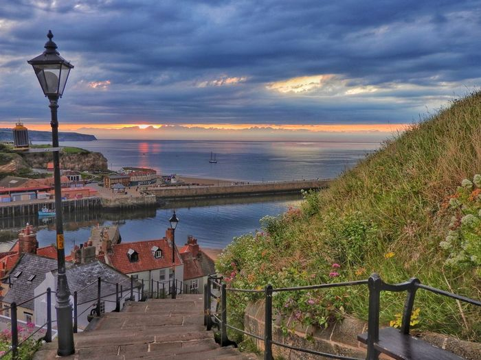 Steps And Railings Steps And Staircases Cloud - Sky Sky Water Architecture Sea Nature My Best Photo Horizon Travel Destinations Footpath Sunset Railing My Best Photo