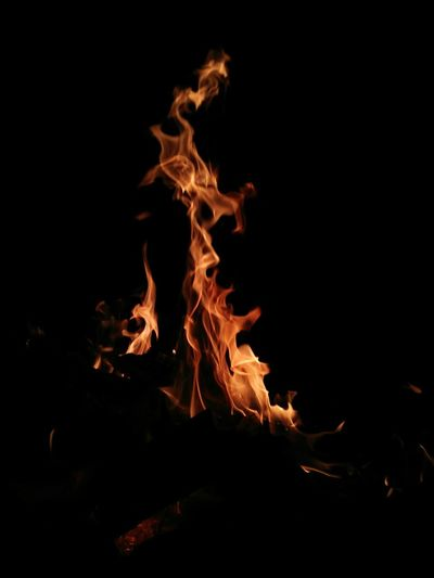 Fire Heat - Temperature Flame Glowing No People Burning Dark Night Black Background