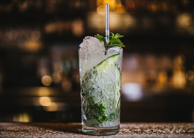 Close-up of mint drink on table