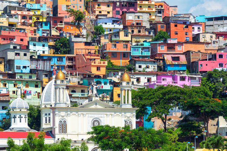Church Of Santo Domingo De Guzman Against Colorful Buildings In City