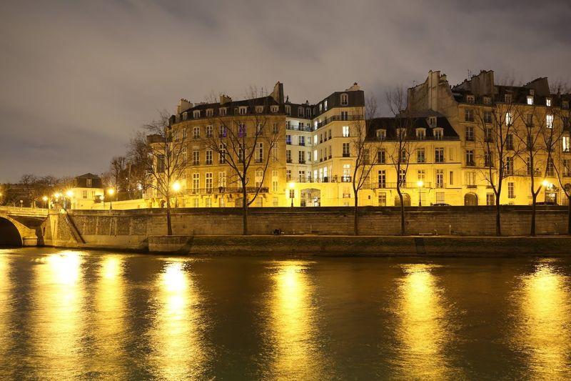 Architecture Water Sky Illuminated Reflection Night City