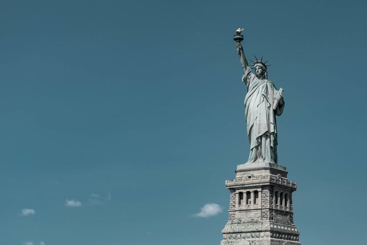 Sculpture Statue Human Representation Sky Low Angle View Representation Art And Craft Female Likeness Travel Destinations Travel No People Nature Creativity Tourism Architecture Day Craft Copy Space History Freedom Neo-classical Statue Of Liberty Freedom Liberty