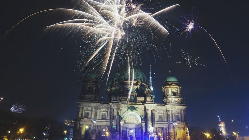 NYE 2018 New Year Happy New Year Berlin Germany Sony A6000 Sonyalpha Night Firework Display Illuminated Arts Culture And Entertainment Travel Destinations Celebration Firework - Man Made Object Place Of Worship Long Exposure Sky City