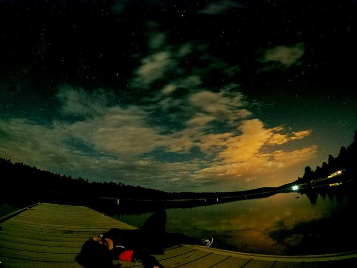 Her.. Star - Space Night Silhouette Landscape Tree Sky Beauty In Nature Outdoors People Adults Only Nature Astronomy Girl Laying Down Outside Lake Side View Cool Night Relaxation EyeEm Best Shots Nightphotography Galaxy Lovely Nights Orange Color Blue Sky Light Pollution Middleofnowhere Dark Photography
